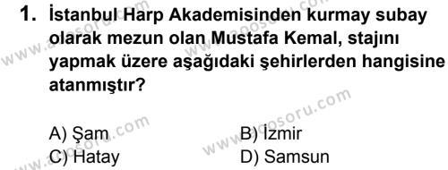 T.C. İnklap Tarihi ve Atatürkçülük 8 Dersi 2013 - 2014 Yılı 3. Dönem Sınavı 1. Soru