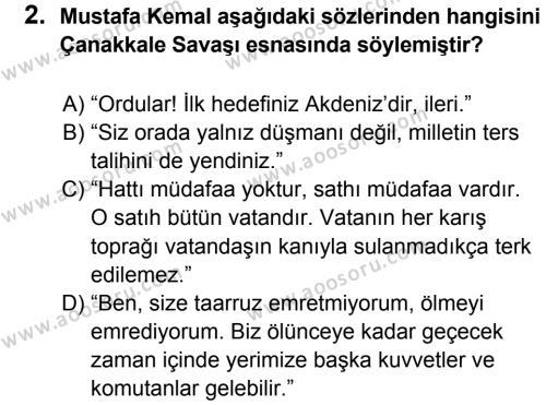 T.C. İnklap Tarihi ve Atatürkçülük 8 Dersi 2013 - 2014 Yılı 3. Dönem Sınavı 2. Soru