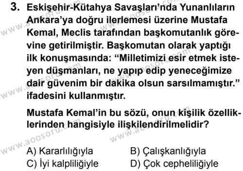 T.C. İnklap Tarihi ve Atatürkçülük 8 Dersi 2013 - 2014 Yılı 3. Dönem Sınavı 3. Soru