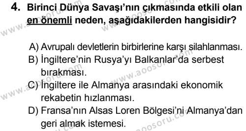 T.C. İnklap Tarihi ve Atatürkçülük 8 Dersi 2013 - 2014 Yılı 3. Dönem Sınavı 4. Soru