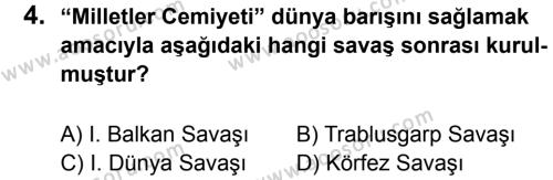 T.C. İnklap Tarihi ve Atatürkçülük 8 Dersi 2014 - 2015 Yılı 1. Dönem Sınavı 4. Soru