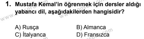 T.C. İnklap Tarihi ve Atatürkçülük 8 Dersi 2014 - 2015 Yılı 2. Dönem Sınavı 1. Soru