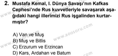 T.C. İnklap Tarihi ve Atatürkçülük 8 Dersi 2014 - 2015 Yılı 2. Dönem Sınavı 2. Soru