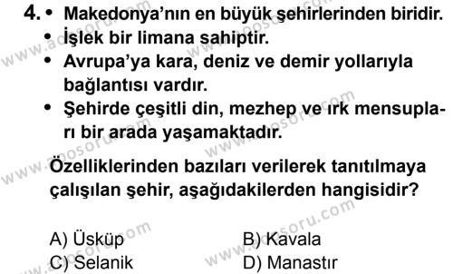 T.C. İnklap Tarihi ve Atatürkçülük 8 Dersi 2014 - 2015 Yılı 2. Dönem Sınavı 4. Soru