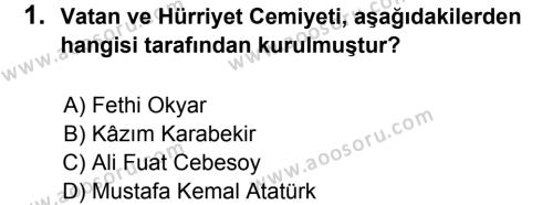 T.C. İnklap Tarihi ve Atatürkçülük 8 Dersi 2014 - 2015 Yılı 3. Dönem Sınavı 1. Soru