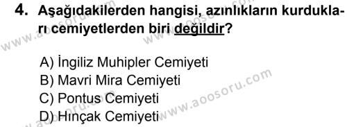 T.C. İnklap Tarihi ve Atatürkçülük 8 Dersi 2014 - 2015 Yılı 3. Dönem Sınavı 4. Soru