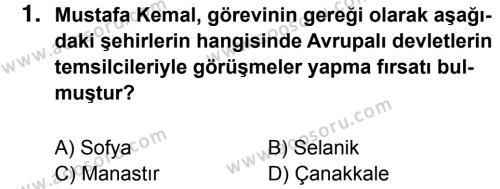 T.C. İnklap Tarihi ve Atatürkçülük 8 Dersi 2015 - 2016 Yılı 2. Dönem Sınavı 1. Soru