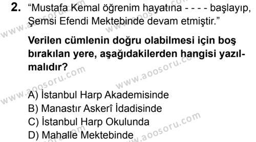 T.C. İnklap Tarihi ve Atatürkçülük 8 Dersi 2015 - 2016 Yılı 2. Dönem Sınavı 2. Soru