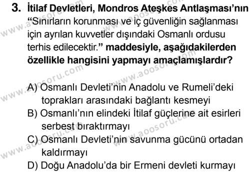 T.C. İnklap Tarihi ve Atatürkçülük 8 Dersi 2015 - 2016 Yılı 2. Dönem Sınavı 3. Soru