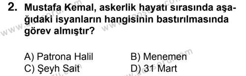 T.C. İnklap Tarihi ve Atatürkçülük 8 Dersi 2015 - 2016 Yılı 3. Dönem Sınavı 2. Soru