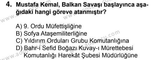 T.C. İnklap Tarihi ve Atatürkçülük 8 Dersi 2015 - 2016 Yılı 3. Dönem Sınavı 4. Soru