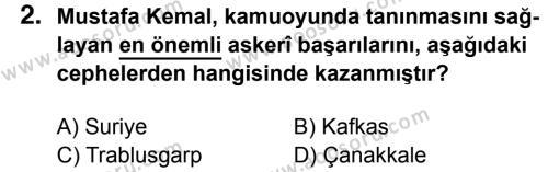 T.C. İnklap Tarihi ve Atatürkçülük 8 Dersi 2016 - 2017 Yılı 1. Dönem Sınavı 2. Soru