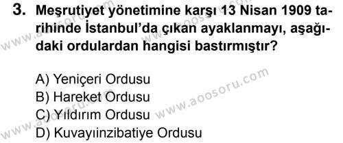 T.C. İnklap Tarihi ve Atatürkçülük 8 Dersi 2016 - 2017 Yılı 1. Dönem Sınavı 3. Soru