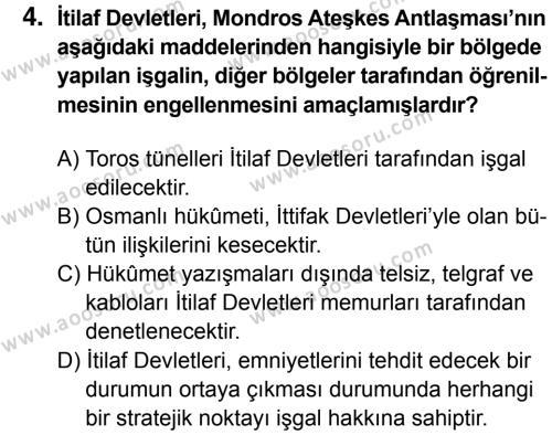 T.C. İnklap Tarihi ve Atatürkçülük 8 Dersi 2016 - 2017 Yılı 1. Dönem Sınavı 4. Soru