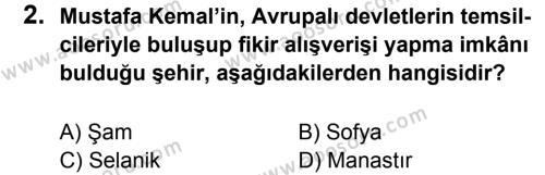 T.C. İnklap Tarihi ve Atatürkçülük 8 Dersi 2016 - 2017 Yılı 2. Dönem Sınavı 2. Soru