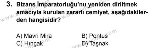 T.C. İnklap Tarihi ve Atatürkçülük 8 Dersi 2016 - 2017 Yılı 2. Dönem Sınavı 3. Soru