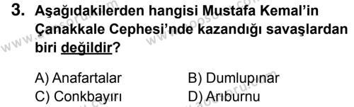 T.C. İnklap Tarihi ve Atatürkçülük 8 Dersi 2016 - 2017 Yılı 3. Dönem Sınavı 3. Soru