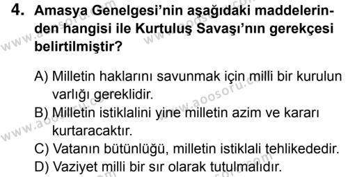 T.C. İnklap Tarihi ve Atatürkçülük 8 Dersi 2016 - 2017 Yılı 3. Dönem Sınavı 4. Soru