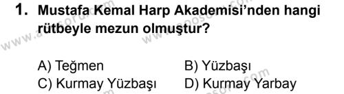 T.C. İnklap Tarihi ve Atatürkçülük 8 Dersi 2017 - 2018 Yılı 1. Dönem Sınavı 1. Soru