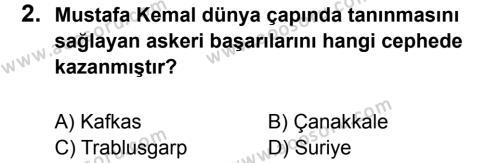 T.C. İnklap Tarihi ve Atatürkçülük 8 Dersi 2017 - 2018 Yılı 1. Dönem Sınavı 2. Soru