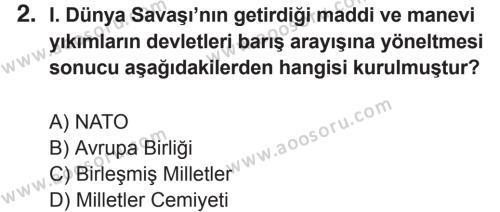 T.C. İnklap Tarihi ve Atatürkçülük 8 Dersi 2017 - 2018 Yılı 2. Dönem Sınavı 2. Soru