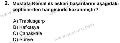 T.C. İnklap Tarihi ve Atatürkçülük 8 Dersi 2017 - 2018 Yılı 3. Dönem Sınavı 2. Soru