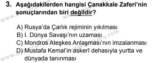 T.C. İnklap Tarihi ve Atatürkçülük 8 Dersi 2017 - 2018 Yılı 3. Dönem Sınavı 3. Soru