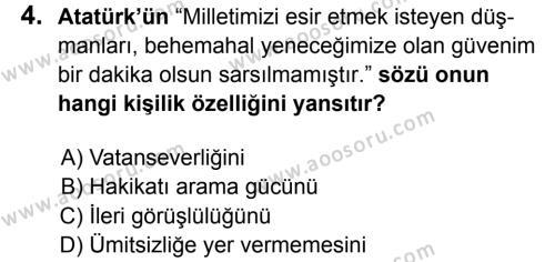 T.C. İnklap Tarihi ve Atatürkçülük 8 Dersi 2017 - 2018 Yılı 3. Dönem Sınavı 4. Soru