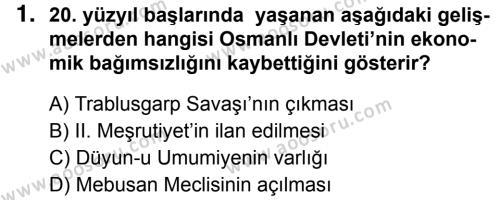 T.C. İnklap Tarihi ve Atatürkçülük 8 Dersi 2018 - 2019 Yılı 1. Dönem Sınavı 1. Soru