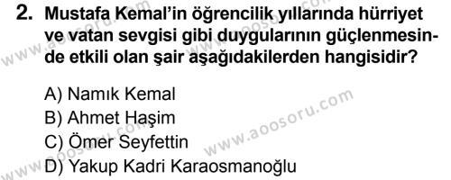 T.C. İnklap Tarihi ve Atatürkçülük 8 Dersi 2018 - 2019 Yılı 1. Dönem Sınavı 2. Soru