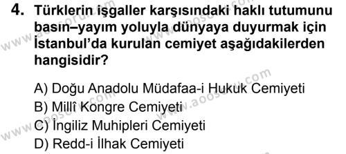 T.C. İnklap Tarihi ve Atatürkçülük 8 Dersi 2018 - 2019 Yılı 1. Dönem Sınavı 4. Soru