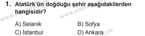 T.C. İnklap Tarihi ve Atatürkçülük 8 Dersi 2018 - 2019 Yılı 2. Dönem Sınavı 1. Soru