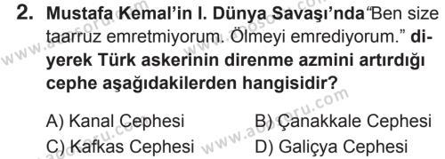 T.C. İnklap Tarihi ve Atatürkçülük 8 Dersi 2018 - 2019 Yılı 2. Dönem Sınavı 2. Soru