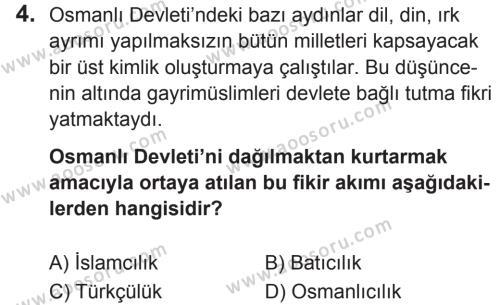 T.C. İnklap Tarihi ve Atatürkçülük 8 Dersi 2018 - 2019 Yılı 2. Dönem Sınavı 4. Soru