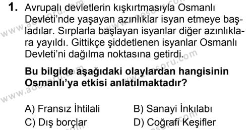 T.C. İnklap Tarihi ve Atatürkçülük 8 Dersi 2018 - 2019 Yılı 3. Dönem Sınavı 1. Soru