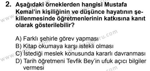 T.C. İnklap Tarihi ve Atatürkçülük 8 Dersi 2018 - 2019 Yılı 3. Dönem Sınavı 2. Soru