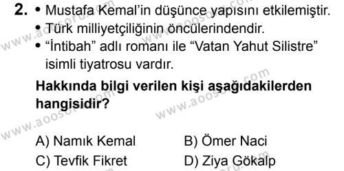 T.C. İnklap Tarihi ve Atatürkçülük 8 Dersi 2019 - 2020 Yılı 1. Dönem Sınavı 2. Soru