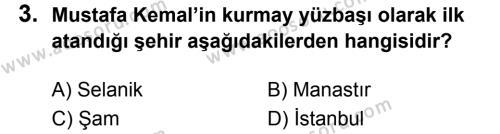 T.C. İnklap Tarihi ve Atatürkçülük 8 Dersi 2019 - 2020 Yılı 1. Dönem Sınavı 3. Soru
