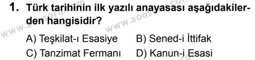 T.C. İnklap Tarihi ve Atatürkçülük 8 Dersi 2019 - 2020 Yılı 2. Dönem Sınavı 1. Soru