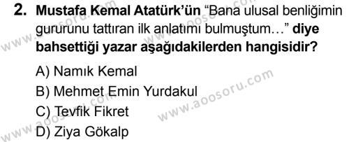 T.C. İnklap Tarihi ve Atatürkçülük 8 Dersi 2019 - 2020 Yılı 2. Dönem Sınavı 2. Soru