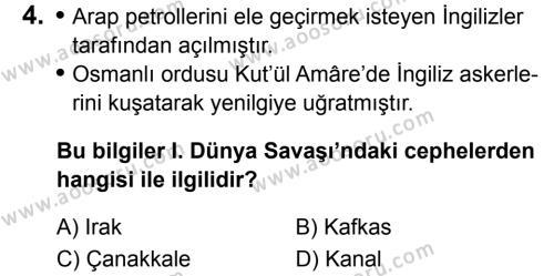 T.C. İnklap Tarihi ve Atatürkçülük 8 Dersi 2019 - 2020 Yılı 2. Dönem Sınavı 4. Soru