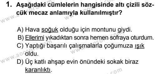 Türkçe 5 Dersi 2012 - 2013 Yılı 1. Dönem Sınavı 1. Soru