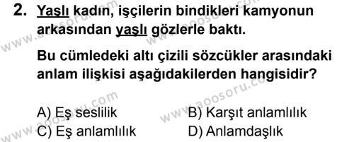 Türkçe 5 Dersi 2012 - 2013 Yılı 1. Dönem Sınavı 2. Soru