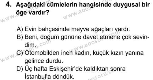 Türkçe 5 Dersi 2012 - 2013 Yılı 1. Dönem Sınavı 4. Soru