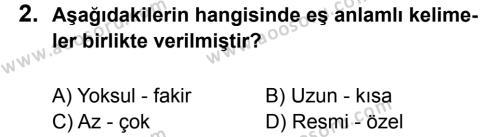 Türkçe 5 Dersi 2012 - 2013 Yılı 2. Dönem Sınavı 2. Soru