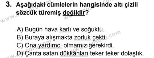 Türkçe 5 Dersi 2012 - 2013 Yılı 2. Dönem Sınavı 3. Soru