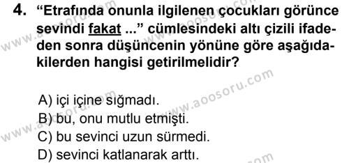Türkçe 5 Dersi 2012 - 2013 Yılı 2. Dönem Sınavı 4. Soru