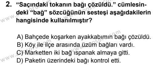 Türkçe 5 Dersi 2012 - 2013 Yılı 3. Dönem Sınavı 2. Soru