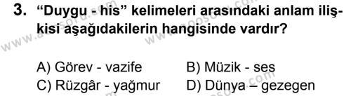 Türkçe 5 Dersi 2012 - 2013 Yılı 3. Dönem Sınavı 3. Soru