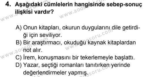 Türkçe 5 Dersi 2012 - 2013 Yılı 3. Dönem Sınavı 4. Soru